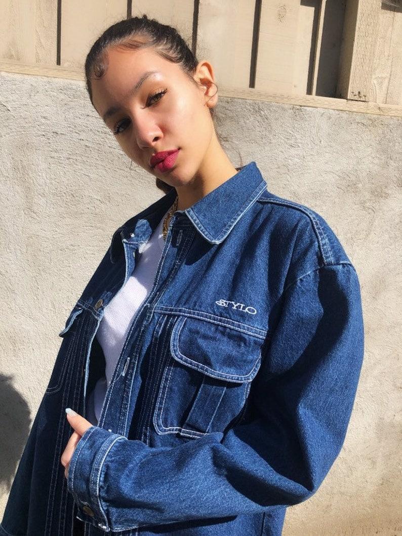 Stylo oversized nineties denim jacket with white stitching image 0
