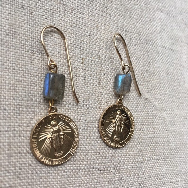 Gold-filled Mary medallion earrings with labradorite by Ankh image 0