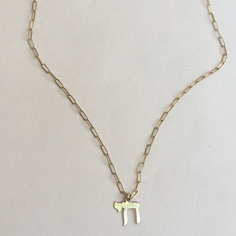 Small Gold filled Chai symbol charm necklace image 0