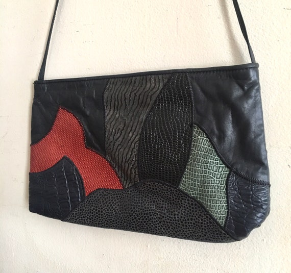 Vintage patchwork embossed leather purse