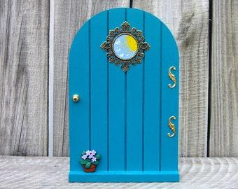 Wood Fairy Door, Aqua, Blue, Indoor Fairy Door, Childs Gift, Fairy, Pretend Play, Girl Gift, Magical Portal, Miniature Door, Fairy Play