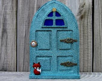 Fairy Door, Sparkly, Green, Indoor Fairy Door, Pretend Play, Childs Gift, Fairy, Magical Portal, Painted Wood, Miniature Door, Fairy Play