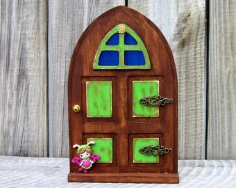 Wood Fairy Door, Green, Stained Wood, Indoor Fairy Door, Pretend Play, Miniature Door, Childs Gift, Embellished Door, Fairy, Faerie Door