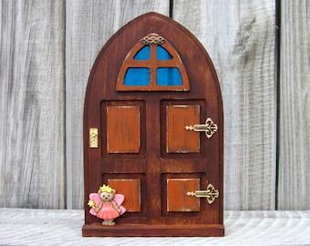 Wooden Fairy Door, Indoor Fairy Door, Stained Wood, Orange, Pretend Play, Miniature Door, Role Play, Imagination Play, Fairy, Childs Gift