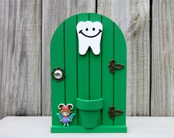 Tooth Fairy, Tooth Holder, Green, Fairy Door, Money Holder, Lost Tooth, Painted Wood, Childs Loose Tooth