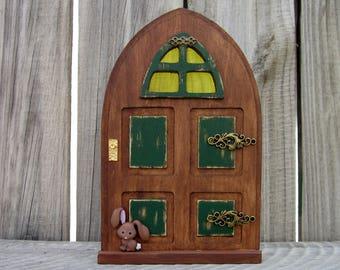 Fairy Door, Stained Wood, Green, Indoor Fairy Door, Pretend Play, Miniature Door, Imaginative Play, Fairies, Magical Portal, Childs Gift