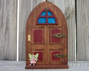 Fairy Door, Indoor Fairy Door, Stained Wood, Red, Fairy, Pretend Play, Childs Gift, Magical Portal, Painted Wood, Miniature Door, Fairy Play
