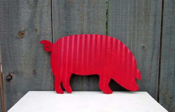 Country Farmhouse Pig Wall Decor Sign Corrugated Metal