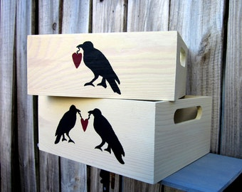 Storage Crates, Whitewashed, Set of Two, Painted Wood, Storage Box,  Black Crow, Crate with Handles, Primitive Decor, Hand Painted
