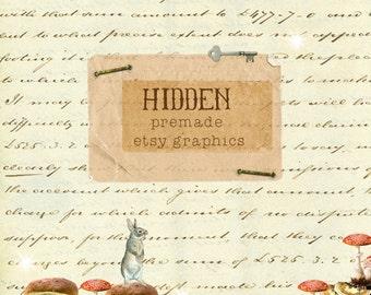 Etsy Shop Banner, Avatar and Reserved Listing Set - Hidden - OOAK