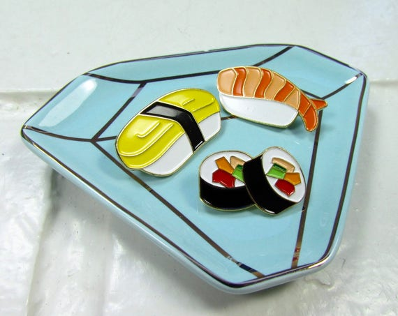 Enamel Pin | Brooch | Sushi *SET of 3* | Kawaii | Cute | Sushi Lover | Japanese Food | Foodie | Sushi Rolls|Fashion Accessory |Gift Under 10