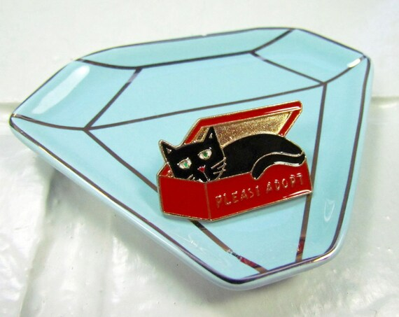 Enamel Pin | Brooch | Black Cat | Please Adopt | Kawaii | Meow | Instagram | School | Gift Under 10 | Fashion Accessory | Cute Pin | Jacket