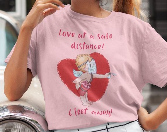 Love at a Safe Distance | Valentine's Day T-Shirt | Funny Cupid T-Shirt | Adult Unisex Premium T-Shirt | College Shirt | Gift Idea