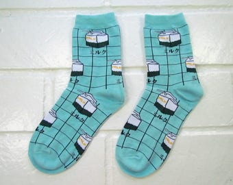 Women Crew Socks - Kawaii Milk Cartons | Light Blue | Funny Socks | Cute Socks | Instagram | Unique Socks | Gift Under 10 | Fun Socks