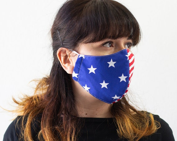 Patriotic American Flag | Double Layer Face Mask with Elastic Band | Completely Washable, Reusable, Adult Size Only | READY to SHIP