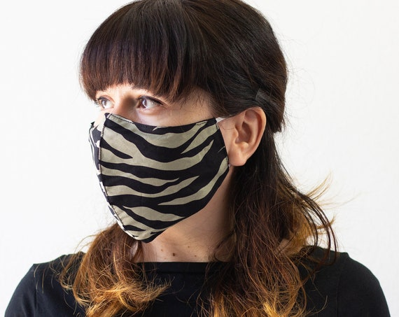 Zebra Camouflage Mask | Double Layer Face Mask with Elastic Band | Completely Washable, Reusable, Adult Size Only | READY to SHIP