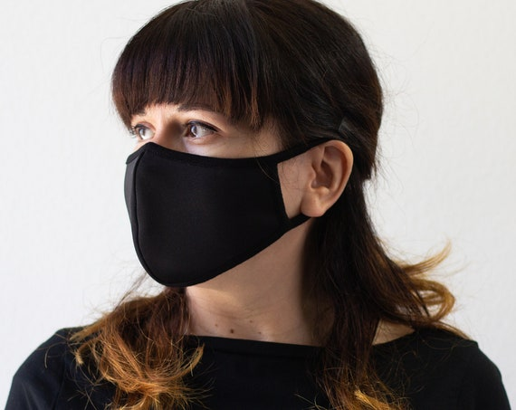 Black | Protective Single Layer Face Mask | Comfortable Lightweight Fabric, Completely Washable, Reusable | Adult Size Only | READY to SHIP
