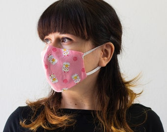 Lucky Cats | Triple Layer Face Mask with Adjustable Nose Wire and Elastic Band | Completely Washable, Reusable, For Adults & Children