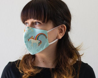 Unicorns  | Triple Layer Face Mask with Adjustable Nose Wire and Elastic Band | Completely Washable, Reusable, For Adults & Children