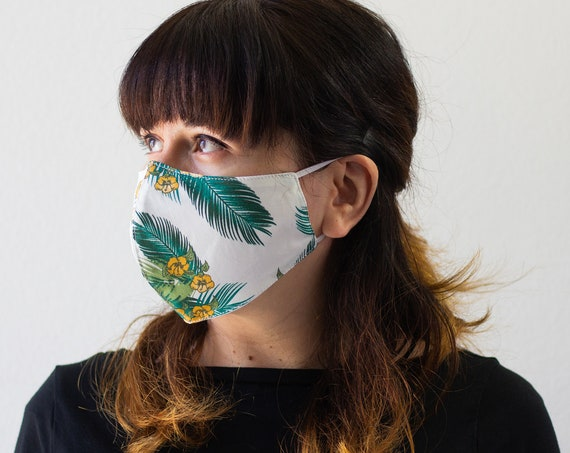 Tropical Leaves | Double Layer Face Mask with Elastic Band | Completely Washable, Reusable, Adult Size Only | READY to SHIP