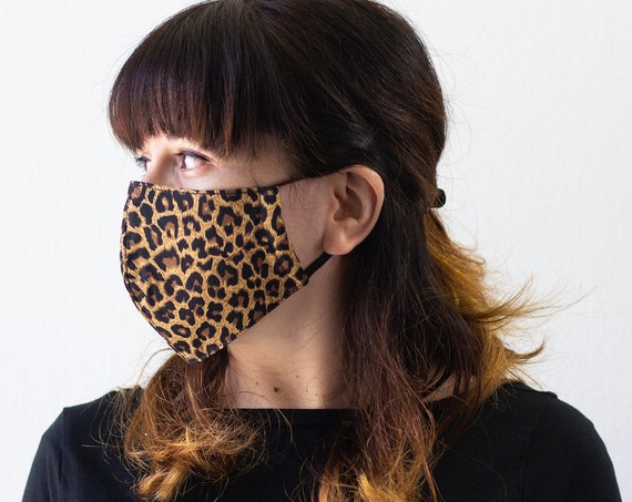 Leopard | Triple Layer Face Mask with Elastic Band | Completely Washable, Reusable, Adult Size Only | READY to SHIP