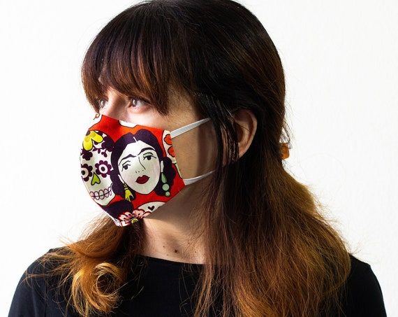 Frida Kahlo | Triple Layer Face Mask with Adjustable Nose Wire and Elastic Band | Completely Washable, Reusable, For Adults