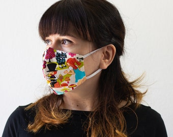 Alice Wonderland | Triple Layer Face Mask with Adjustable Nose Wire and Elastic Band | Completely Washable, Reusable, For Adults & Children