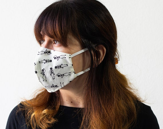 Skeletons | Triple Layer Face Mask with Adjustable Nose Wire and Elastic Band | Completely Washable, Reusable, For Adults