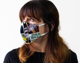 Classic Star Wars | Triple Layer Face Mask with Adjustable Nose Wire and Elastic Band | Completely Washable, Reusable, For Adults & Children