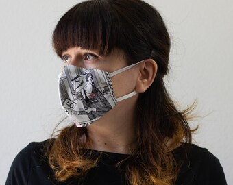 The Ghastlie's | Triple Layer Face Mask with Adjustable Nose Wire and Elastic Band | Completely Washable, Reusable, ONLY Adult Women Size