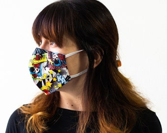 Batgirl | Triple Layer Face Mask with Adjustable Nose Wire and Elastic Band | Completely Washable, Reusable, For Adults & Children