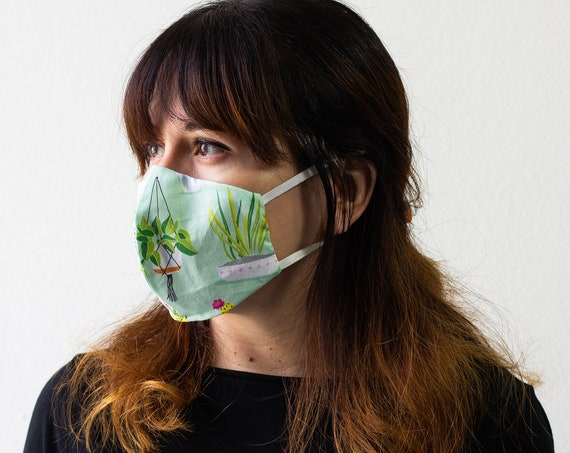 Succulent Plants | Triple Layer Face Mask with Adjustable Nose Wire and Elastic Band | Completely Washable, Reusable, For Adults & Children