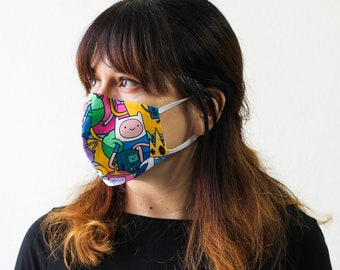 Adventure Time | Triple Layer Face Mask with Adjustable Nose Wire and Elastic Band | Completely Washable, Reusable, For Adults & Children