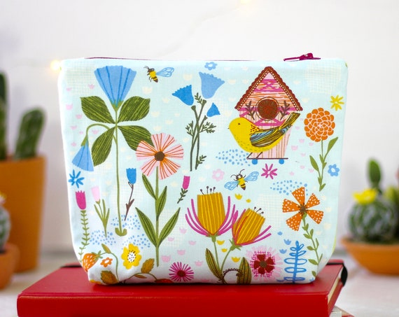 Handmade Makeup Bag | Zipper Pouch | Pencil Pouch | Toiletry Bag | School Supplies | Gift Idea | Cosmetic Bag | Whimsical Flowers