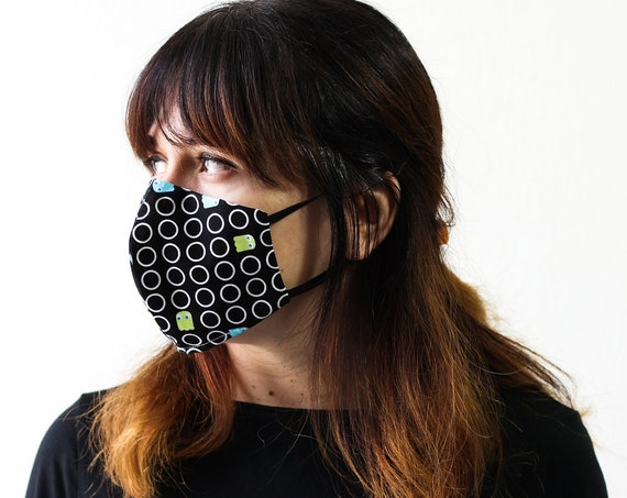Pac-Man Ghost | Triple Layer Face Mask with Adjustable Nose Wire and Elastic Band | Completely Washable, Reusable, For Adults & Children
