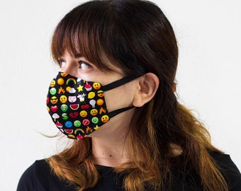 Triple Layer Face Mask with Adjustable Nose Wire | Face Covering| Washable| Reusable| 100% Cotton | Unisex | Elastic Band | Adult | Children
