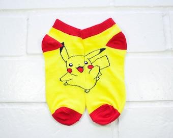 Women Ankle Socks - Pikachu | Pokemon | Animation Character Socks | Red & Black Socks | Cartoon | Pokemon Fan