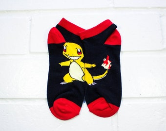 Women Ankle Socks - Charmander | Pokemon | Animation Character Socks | Red & Black Socks | Cartoon | Pokemon Fan
