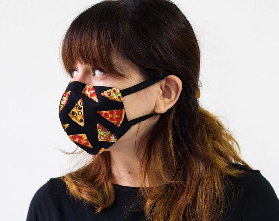 Pizza | Triple Layer Face Mask with Adjustable Nose Wire and Elastic Band | Completely Washable, Reusable, For Adults & Children