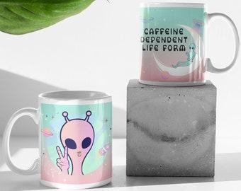 Alien Caffeine Dependent Life Form   11 oz Coffee Mug   Ceramic Mug   Funny Mug   Gift Ideas   Sublimation Mug   UFO Mug   Sci Fi   Pink