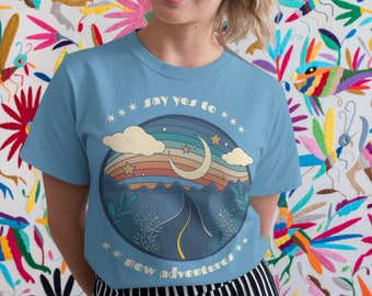 Say Yes to New Adventures T-Shirt   Women Inspirational Tee   Travel Blogger   Adult Unisex Premium T-Shirt   College Shirt   Gift Idea