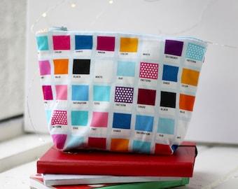Makeup Bag   Zipper Pouch   Pencil Pouch   Toiletry Bag   School Supplies   Handmade   Gift Idea   Cosmetic Bag   Pantone Color Swatches