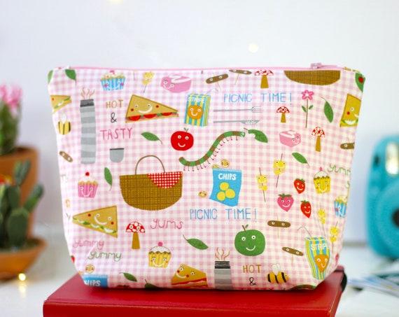 Handmade Makeup Bag | Zipper Pouch | Pencil Pouch | Toiletry Bag | School Supplies | Gift Idea | Cosmetic Bag | Cute Picnic