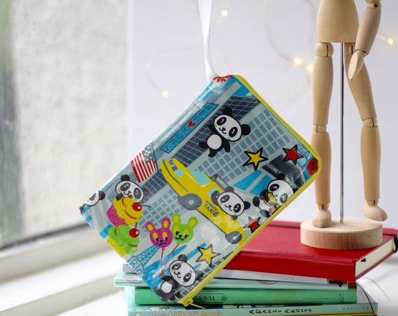 Wristlet Wallet | Pandas in New York City | Handmade | iPhone | Samsung Galaxy | Matte Finish Vinyl | Phone Purse | Under 20 | Work | School