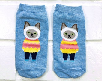 Socks | Womens Socks | Novelty Socks | Funny Socks | Cute Socks | Women Novelty Socks | Gifts Idea | Crazy Socks | Siamese Cat