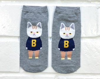 Women Ankle Socks - White Cat | Grey Socks | Funny Cat Socks | Gray Cat Socks | Cats with Clothes | Cat Lover | Fun Socks | Gift Under 10