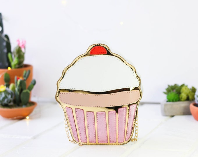 Featured listing image: Novelty Cupcake Shoulder Crossbody Handbag | Chain Purse Shoulder Bag | Dessert Handbag | 3D Cupcake Bag | Pink, White, Gold Cupcake Bag