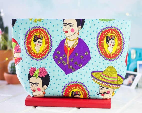 Handmade Womens Clutch Purse | Zipper Pouch | Makeup Bag | Accessory Bag | Evening Bag | Gift For Her | Frida Kahlo Frida
