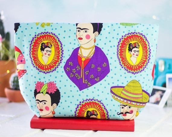 Handmade Women Clutch Purse | Zipper Pouch | Makeup Bag | Accessory Bag | Evening Bag | Gift Idea | Frida Kahlo Frida