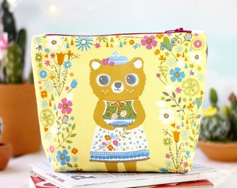 Makeup Bag | Zipper Pouch | Pencil Pouch | Toiletry Bag | School Supplies | Handmade | Gift Idea For Her | Cosmetic Bag | Whimsical Bear